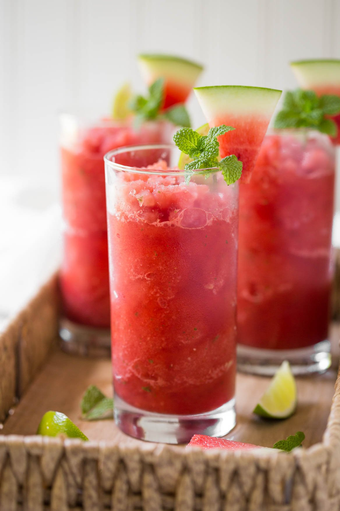 Fresh watermelon slush in a drinking glass