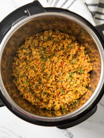 Mexican brown rice prepared in Instant Pot