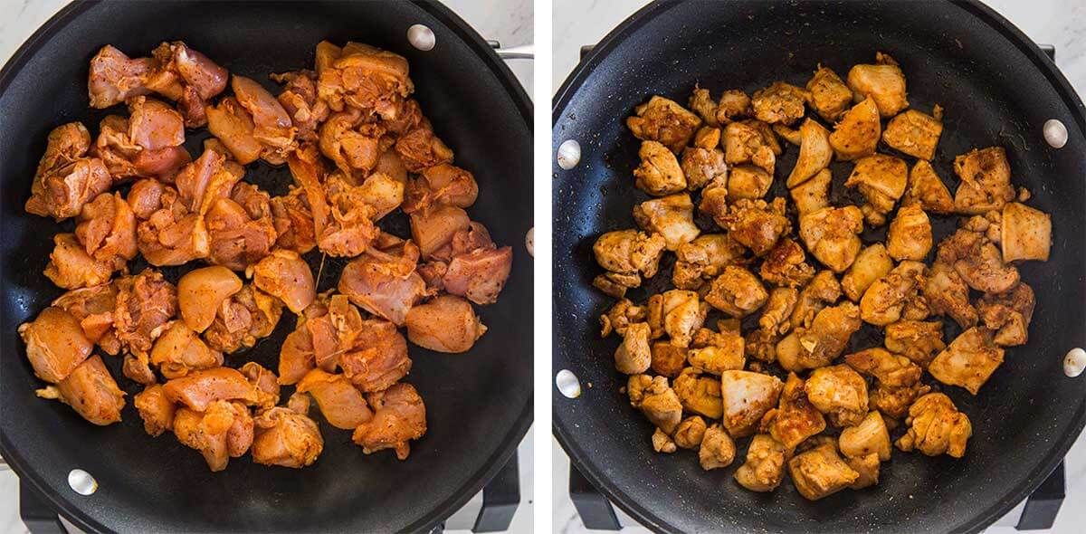 Coking marinated chicken in a large skillet
