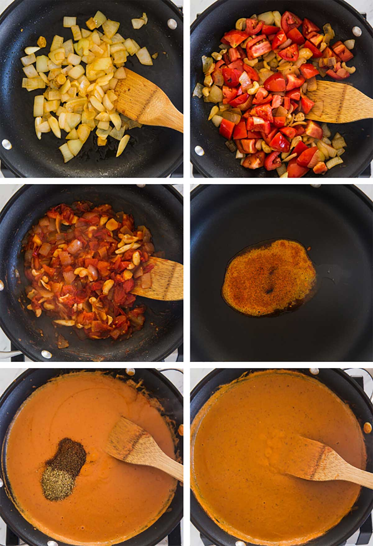 Process of making chicken tikka masala in a large skillet
