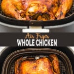 Rotisserie style Air Fryer Whole Chicken - get roasted chicken with soft & juicy meat and a crispy crust on the outside in Air Fryer. Best ever and easy recipe for a wholesome lunch/dinner. Also, learn to prepare delicious gravy from chicken drippings. | #watchwhatueat #airfryerrecipes #airfryerchicken #airfryerroastedchicken.