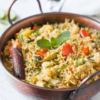 Indian veg biryani in a serving bowl