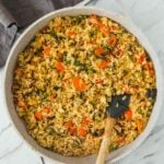 Healthy vegetable Thai fried rice in a frying pan