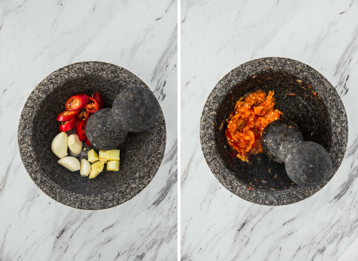 ginger, garlic and Thai in a molcajete