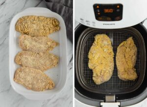 ready to cook parmesan breaded chicken in a tray and in a air fryer basket.