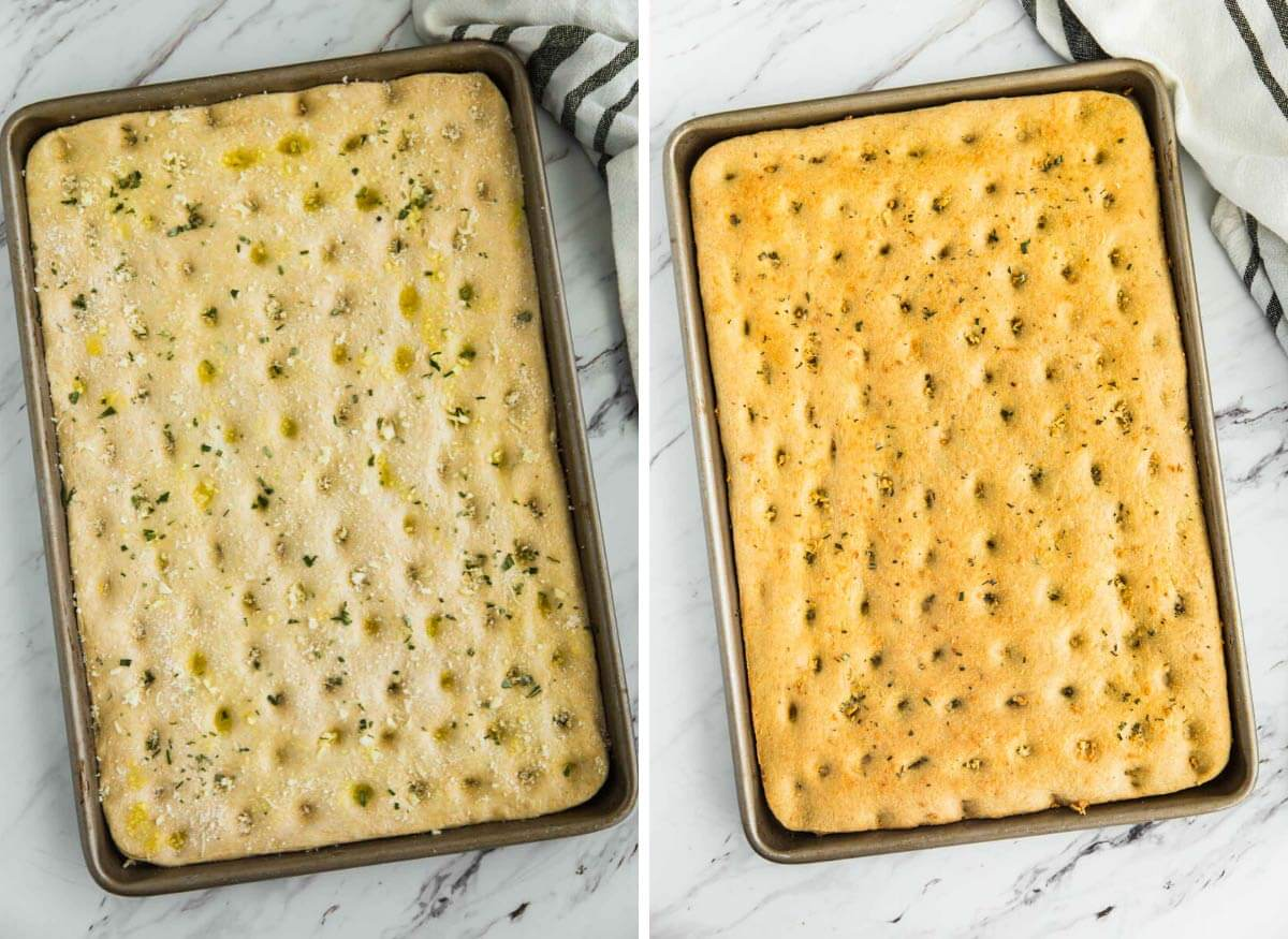 whole wheat dough in a baking sheet before and after baking