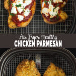 Air Fryer Chicken Parmesan - breaded chicken fried in an air fryer for a healthier twist on the classic chicken parm. Crispy parmesan crust and juicy tender chicken with fresh mozzarella cheese is what makes this dish super awesome. A quick and easy healthy recipe to follow. | #watchwhatueat #healthychickenparmesan #chickenparmesan #airfryerchickenparmesan