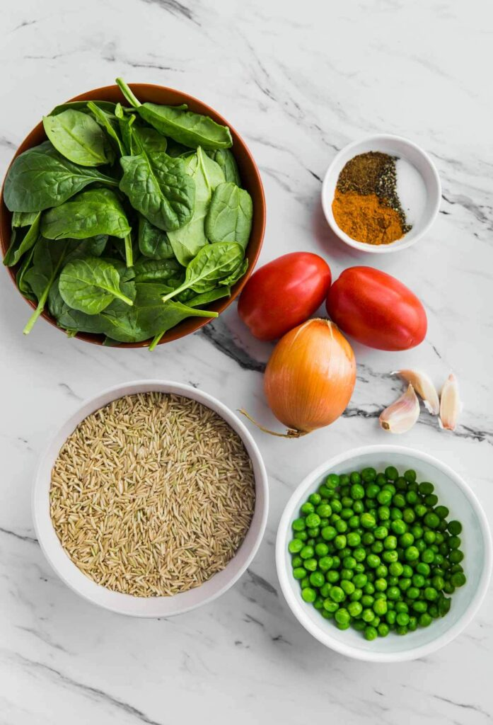 Ingredients for making spinach brown rice in Instant Pot