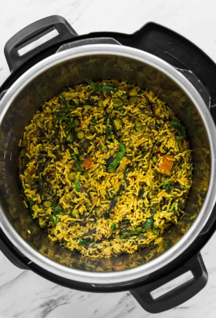 Instant Pot spinach brown rice after cooking