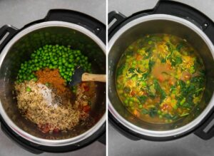 Preparing brown rice with spinach and green peas in Instant Pot