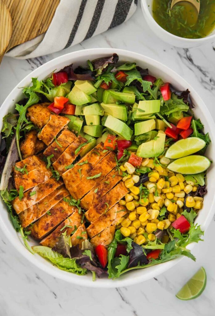 Mexican Avocado and chicken salad in a salad bowl