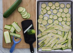 Collage image of fresh Zucchini cut into slices and ribbons using mandolin slicer. Then spread it on the baking tray.