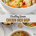 images of chicken orzo soup in serving bowl with text overlay
