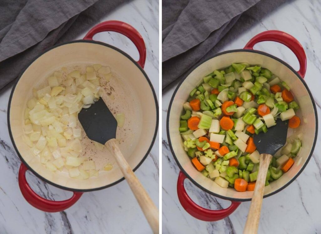 collage image of sautéing onion and chopped vegetables in a dutch oven.
