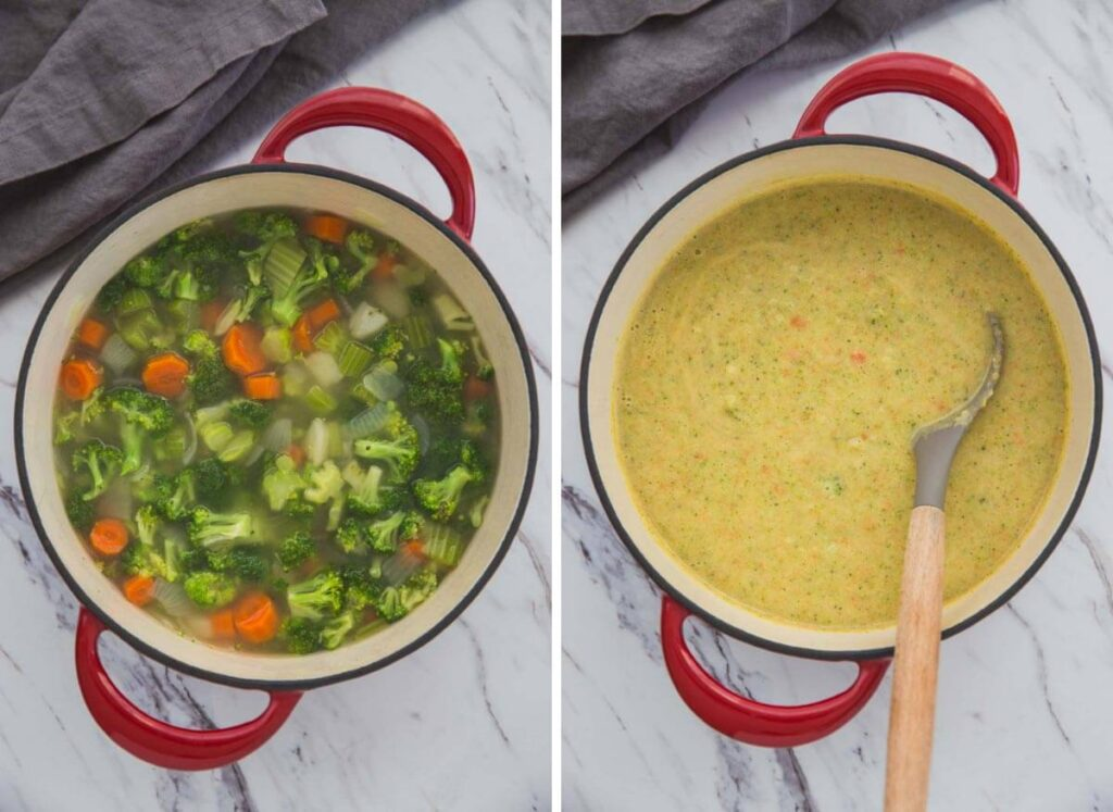 collage image of cooking process of broccoli soup