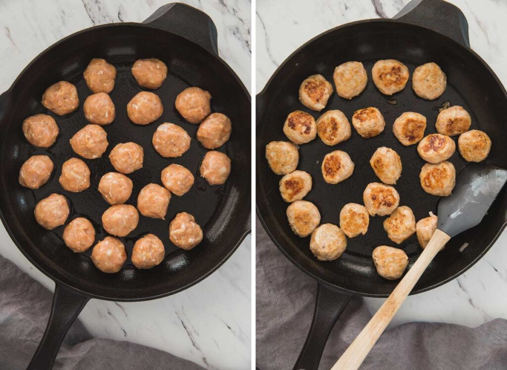 collage image of cooking meatballs in a cast iron pan