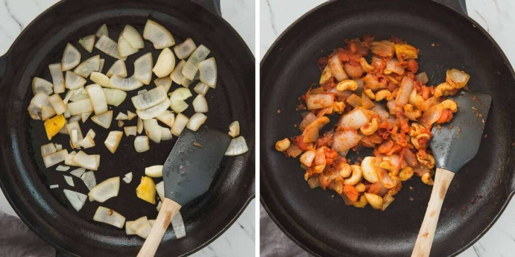 collage image of cooking onion and tomato in a cast iron pan