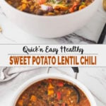 collage image of lentil chili with sweet potato in a serving bowl and a dutch oven.