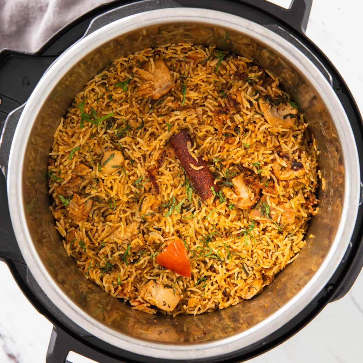 Authentic Indian chicken biryani prepared in an Instant Pot.